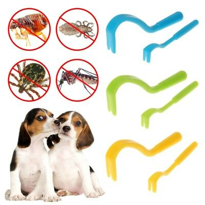 Pet Dog Cat Human Tick Fleas Remover Removal Twister Tool Treatment 2 Hooks