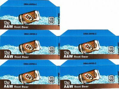 A&W Root Beer 12oz Can 5 Small Vending Machine Calories Flavor Labels