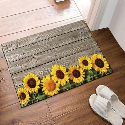 Flower Sunflower Wooden Non Slip Rug Warm Carpet Bedroom Bathroom Mat Doormat