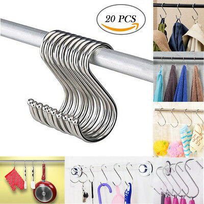 20PCS S Shape Silver Stainless Steel Powerful Type House Kitchen Hanger Hook GD