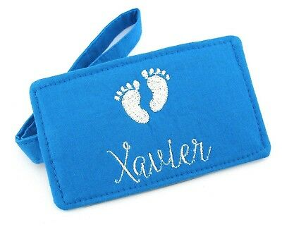Baby Boy Blue Personalised Name Luggage Tag, Baby Gift, Baby Feet Luggage Tag