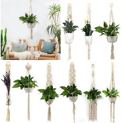 Garden Macrame Plant Hanger Flowerpot Holder String Hanging Rope Wall Art