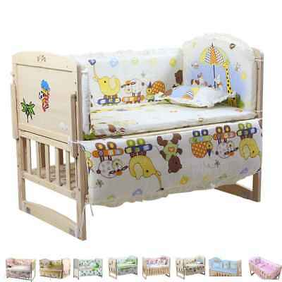 5PCs Baby Crib Bumper cartoon Comfy Cotton Infant Toddler Bed Cot Protector