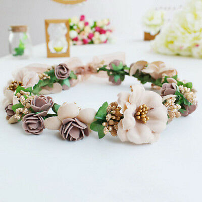 Flower Headband Women Floral Crown Hairband Wedding Party Hair Garland Beach