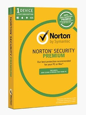 Norton Security Premium 1 Device 12 Months Card+2gb Cloud Storage For Your PC!