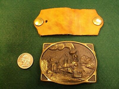 Excellent Vtg 1976 Brass Mens Belt Buckle, American Train, Registered Collection