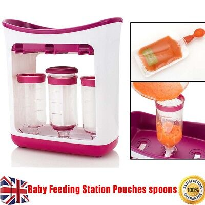 Infant Baby Food Feeding Station Homemade Pouches Maker Fresh Squeeze Storage