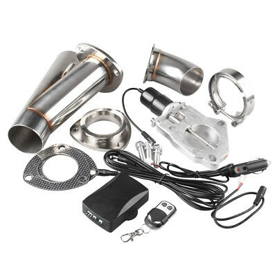 """2.5"""" Stainless Electric Exhaust Cut out Y Pipe Valve Motor Kit  With Remoter"""
