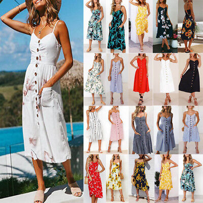 AU Womens Holiday Midi Swing Dresses Strappy Button Pocket Summer Beach Sundress