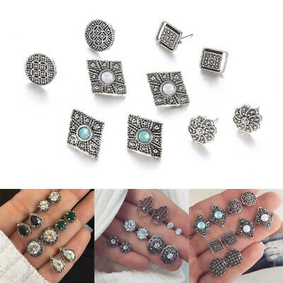 5 Pairs/Set Water Drop Crystal Stud Earrings Women Casual Carving Silver Jewelry