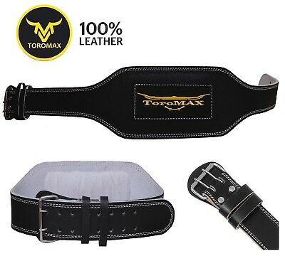 "TOROMAX Gym Weight Lifting Belt 6"" Leather Lumbar Back Support Power Training"