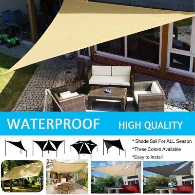 Waterproof Triangle 11.8' Square Sun Shade Sail Cloth Outdoor Canopy Awning