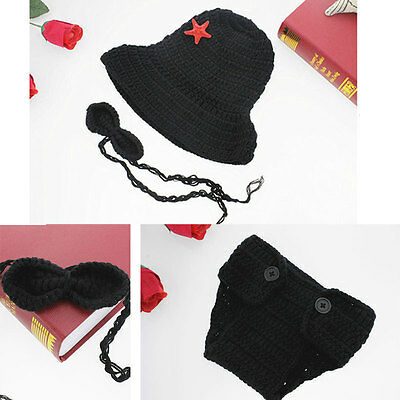 Newborn Gentleman Baby Clothing Boy Hat Costume Crochet Outfits Photo Props