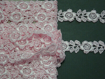 FULL PACK 27.4 METRES - Pretty Baby PInk Rose Venise Guipure Lace Trim 1.5cm