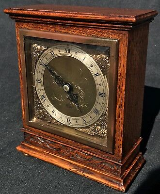 Lovely Elliott London Mantel Clock Silvered And Brass Dial Oak Carved Early