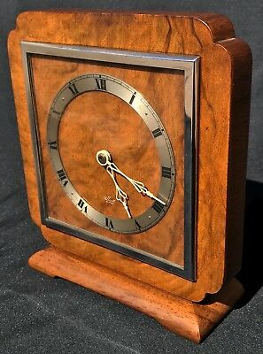 Lovely Elliott London Mantel Clock Silvered And Wood Dial Walnut Art Deco Early