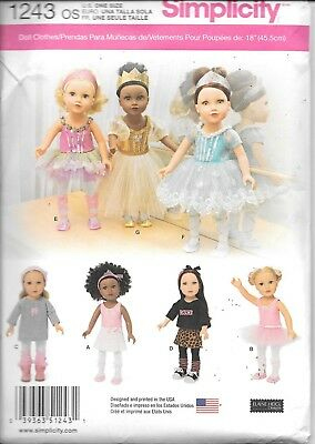 """1243 sewing pattern Simplicity UNCUT 18"""" doll clothes dress skirt leggings FF"""