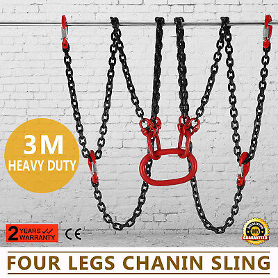10FT Chain Sling with 4 Legs 5T Anti-High Temperature Rope Hoist Fork Head Hook