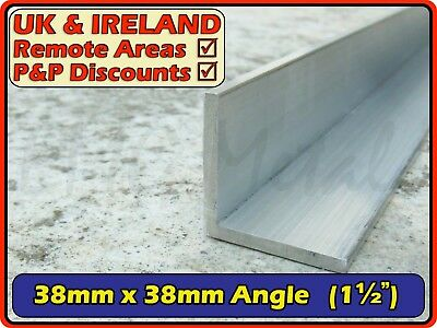 "Aluminium Angle (L section, edging, bracket, ally, alloy, trim) | 38x38mm (1.5"")"