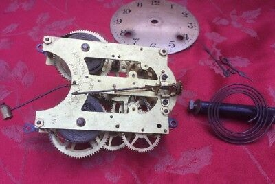 Ansonia A25 4 1/2 Clock Movement Hands And Dial Gong Spares Or Repair