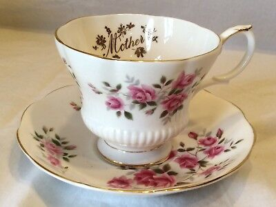 "Royal Albert Bone China England Tea Cup & Saucer Pink Roses ""Mother"""