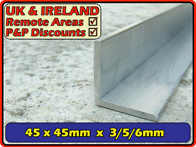 "Aluminium Angle (L section, edging, bracket, ally, alloy, trim)| 45x45mm (1.75"")"
