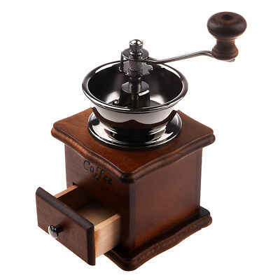 UK 1PC Manual coffee grinder Wood / metal hand mill Spice mill (wood color) MSY