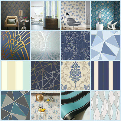 Navy Blue Wallpaper | Glitter Wallpaper | Geometric Wallpaper | Teal | Duck Egg
