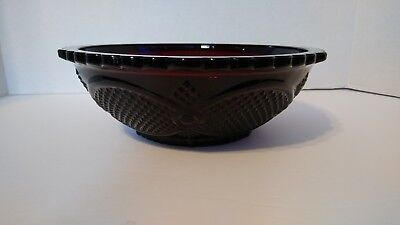 AVON Cape Cod Ruby Red Glass Centennial Edition 8.75 inch Round Serving Bowl (2)