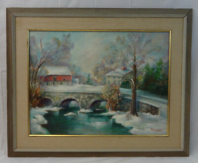 Vintage Oil Painting Berks County Country Farmhouse /Barn/Stone Bridge Signed!