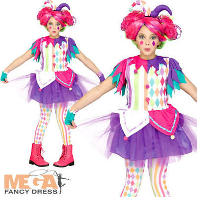 Girls Teens Bright Jester Clown Halloween Fancy Dress Costume Outfit 7-14 years