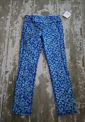 NWT ZELLA Girl Blue Triangles 7/8  Capris Crop Athletic Pants Size L 10 12 years