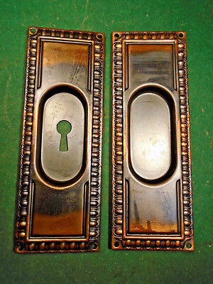 Egg & Dart Japanned Pocket Door Plate Set - Circa 1880-1900  (10465)