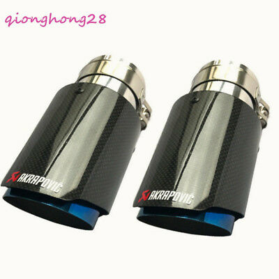 "2 X ID:2.5""63mm OD:4""101mm Akrapovic Glossy Carbon Fiber Exhaust Pipe tip Blue"