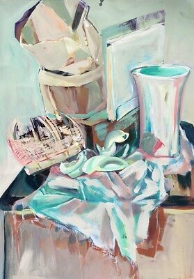 Original Abstract Still Life Acrylic Paper Double Sided College of Art UF Large