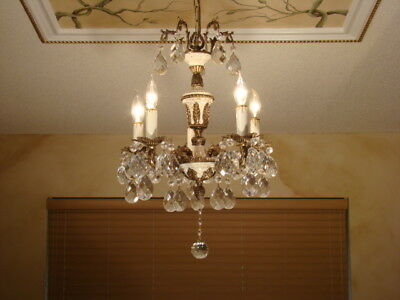 Amazing Old Brass Bronze & Crystal Empire Petite Chandelier