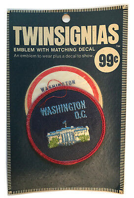 "1970's Washington Dc Usa Souvenir 3"" Patch With Decal Twinsignias In Package"