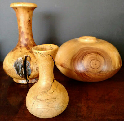 Wood Carved Art 3 Hand Made 3 Pieces 3 Artists All Beautiful & Well Done