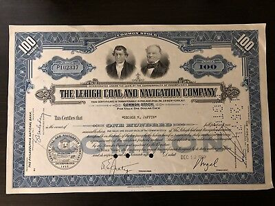 Lehigh Coal and Navigation Company Stock Certificate - 1969