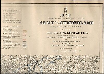 Civil War Map ~ Campaigns Of The Army Of The Cumberland ~ J. Bien Litho