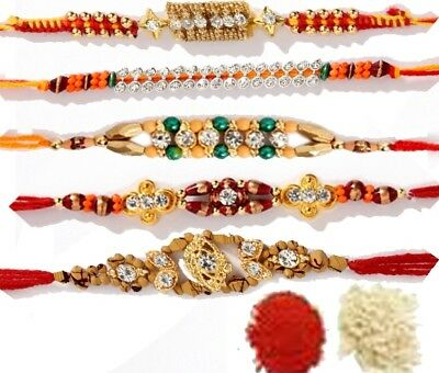 5 x Fancy Rakhi Rakhee Mix Design Rakshabandhan +Shubh Tikka Worldwide Shipping