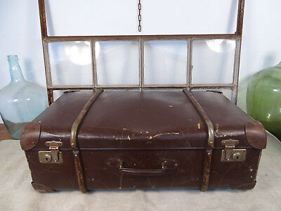 R4750 Old Travel Suitcase um 1930 ~Vintage~ Classic Car with Wooden Strips