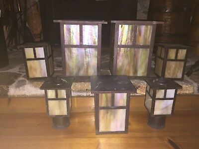 Mission Arts and Crafts Copper/Brass and Slag Glass Outdoor Light Set