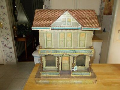 Early 1900S Bliss Or Reed Wood And Lithographed Large Size Dollhouse Opening Fro