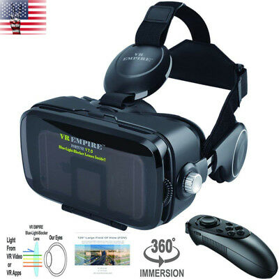VR Virtual Reality Headset 3D Glasses Goggles Stereo Remote Anti-Blue-Light Lens