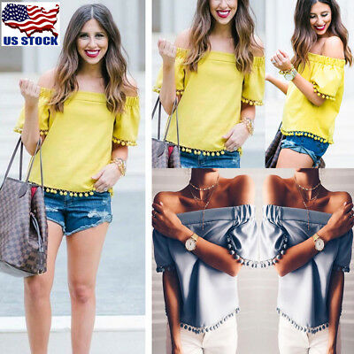 Fashion Womens Summer Off Shoulder Short Sleeve Casual Blouse Loose Tops T Shirt