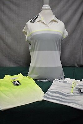 Lot of 3, NWT, Nike Golf Dri-Fit Polo's, Ladies size Large, Gray/White/Lime, NEW