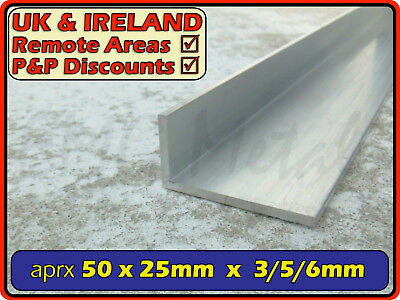 "Aluminium Angle (L section, edging, bracket, alloy) | 50x25mm / 2""x1"" (3mm,6mm)"