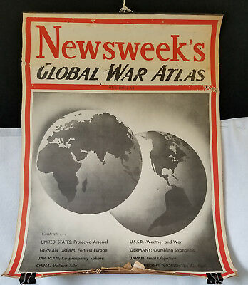 Antique Vintage Newsweek's Global War Atlas 1944 Public Graphic Aid World War 2