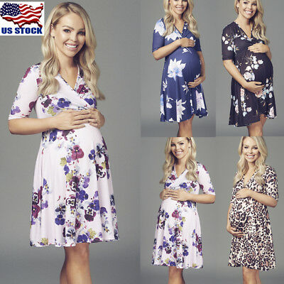 Pregnant Women's Fashion Floral Short Sleeve V-Neck Loose Casual Maternity Dress